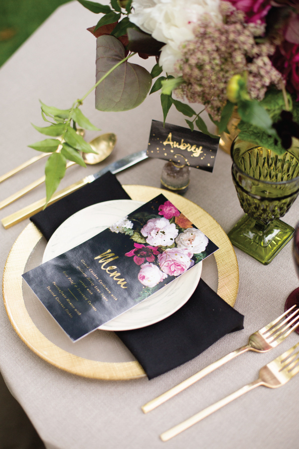menu2 #stationary #setting #fancy #black #floral #invitations #elegant #number #gold #foil #outdoor #table #velvet
