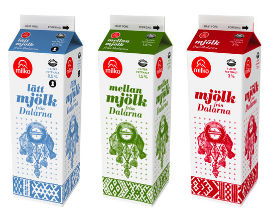 Swedish design studio United Power designed the new Milko Milk cartons. The inspiration comes from Swedish folk art. #folk #packaging #swedish #art #milk #milko