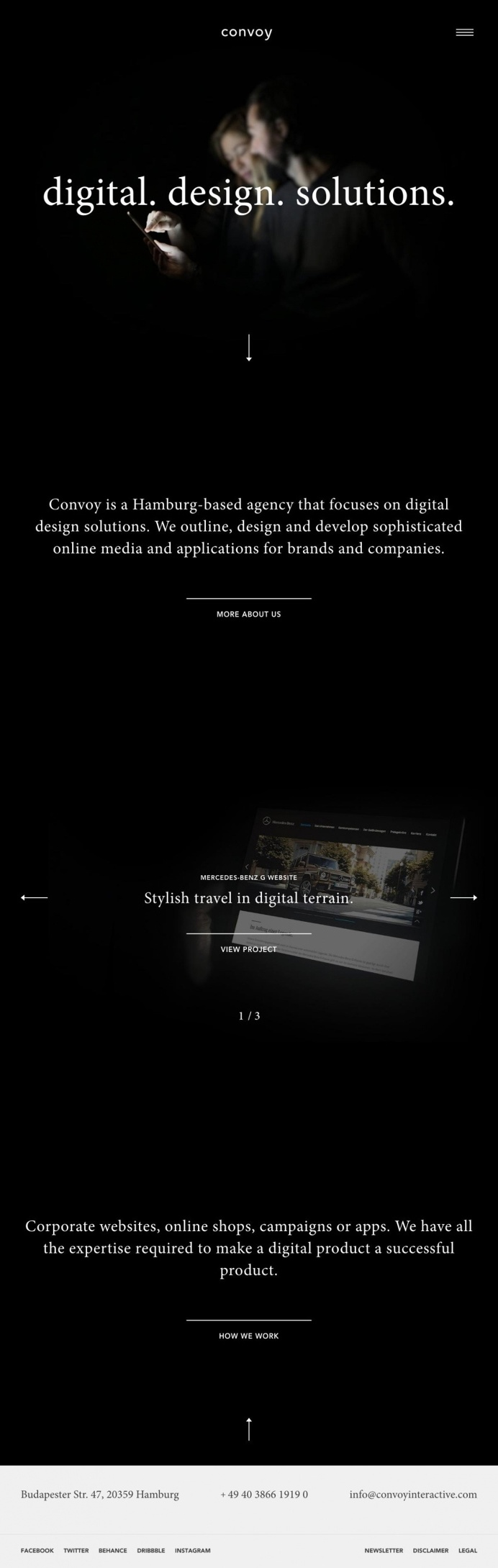 Convoy interactive digital design solutions studio germany modern black dark beautiful typography website webdesign award site of the day mi