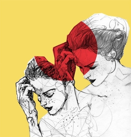 Tumblr #line #red #girl #louw #design #yellow #bryce #illustration #pen #maxeroo #pencil