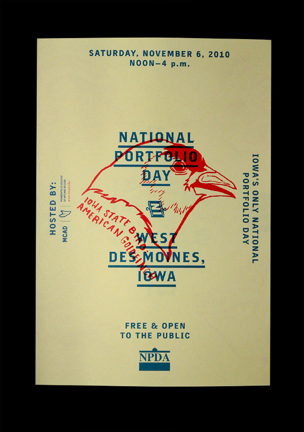 Iowa NPDA Poster/Mailer - Christopher Santoso #red #design #graphic #experimental #bird #eagle #blue #layout #native