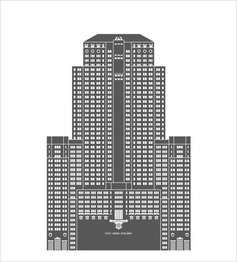 Building Architectural Illustration (mkn design - Michael Nÿkamp) #civic #chicago #opera #buliding