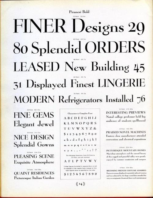 Daily Type Specimen   Piranesi was designed by Willard T. Sniffin for... #typography