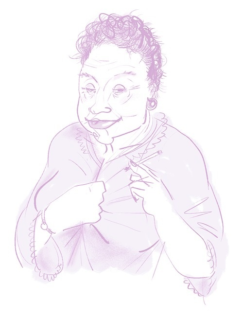 Aunt Anna's good advice #drawing #pink #cigarette #aunt #mature women #oldy #negligee #character