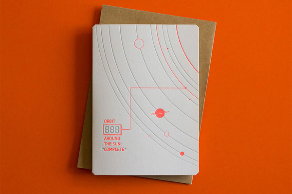 Happy Orbit Greeting Card #solar #orange #letterpress #space #system #booklet