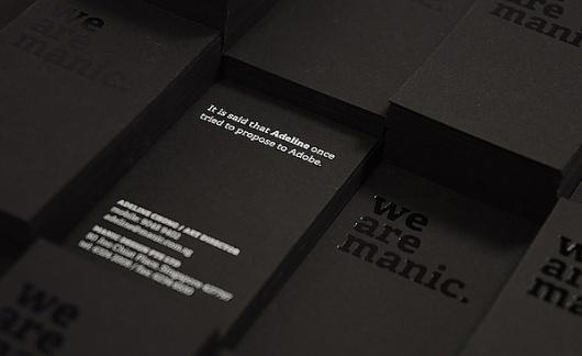 Manic Namecards 2011 on the Behance Network #hotstamp #silkscreen #black #namecards #manic