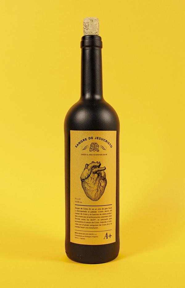 Jesucristo el Superhxc3xa9roe on Behance #typeface #packaging #wine #label #blood #black #editorial #bottle #gold #wine bottle #ticket #stic