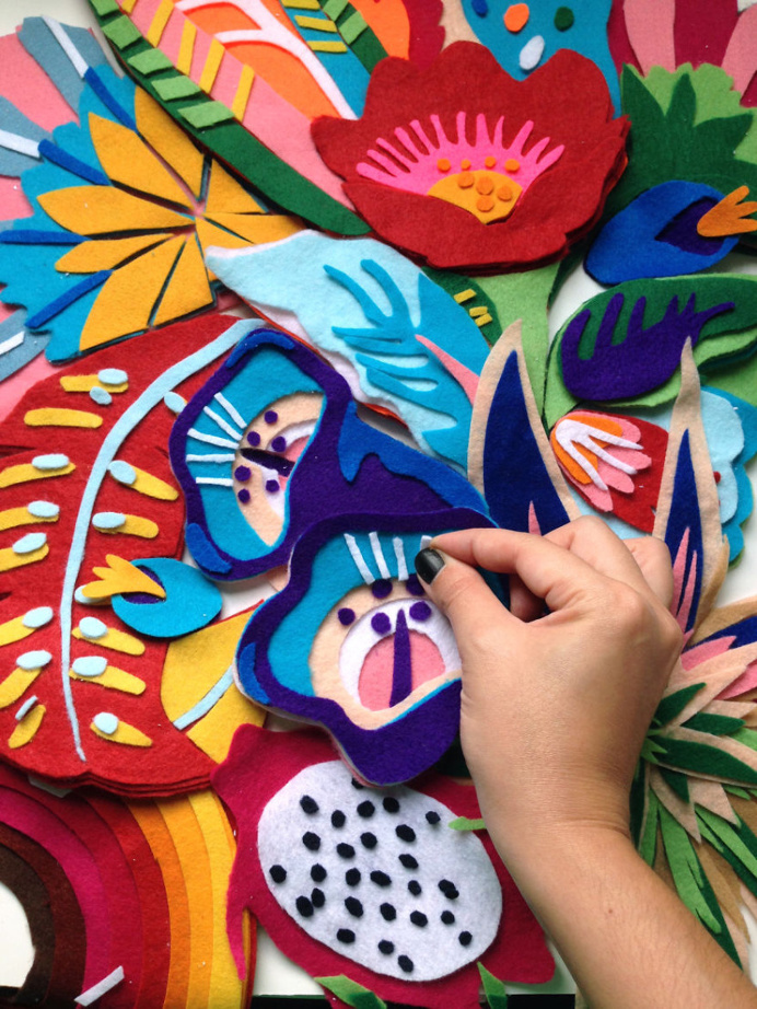 Tropicaliente series by Lhama www.lhama.net #felt #art #lhama #handmade #flower #floral #tropical