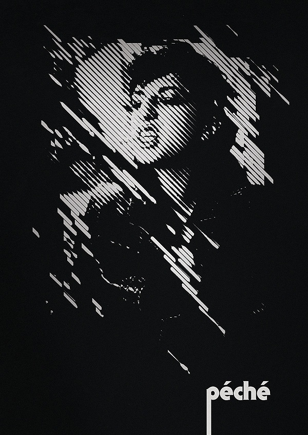 Typcut » péché #halftone #white #lines #typcut #graphic #black #poster #and