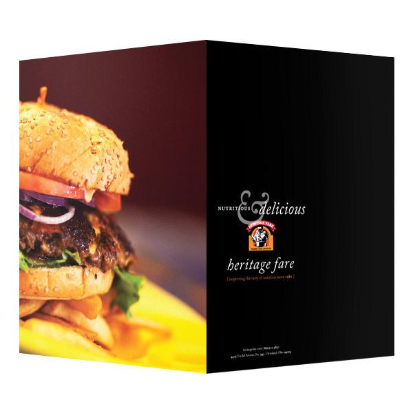 Heritage Fare Food Presentation Folder (Front and Back View) #burger #menu #food #restaurant #folder