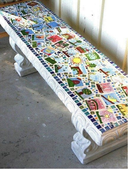 DIY Painted Bench for School Auction #diy #auction #fundraising
