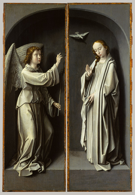 Gerard David: Christ Carrying the Cross, with the Crucifixion; The Resurrection, with the Pilgrims of Emmaus (triptych wings) and Archangel #painting