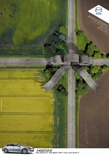 Mazda 6 Ads by Saatchi & Saatchi | Allan Peters' Blog #advertisement #land #street #terrain #photoshop #ribbon #car