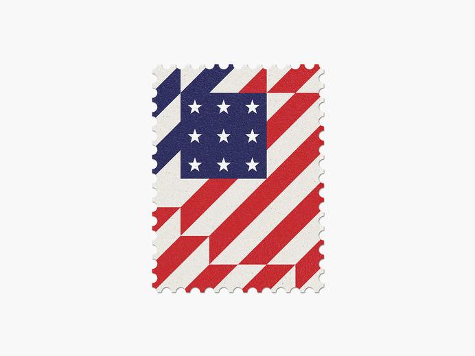 USA #stamp #graphic #maan #geometric #illustration #minimal #2014 #worldcup #brazil