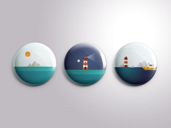 Pin badges (Icon series) #badges #illustration