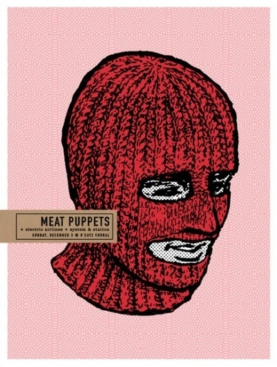 GigPosters.com - Meat Puppets - Electric Airlines - System And Station #simple #illustration #pink #poster