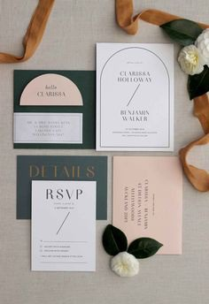 Wedding Stationery} Modern Blush, Emerald & Brass Wedding with a hint of Geometric Art Deco   Just My Type