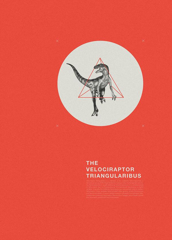 the velociraptor triangularibus #swiss #geometry #dinosaur #flyer #grid #triangle #raptor #poster #velociraptor #circle #helvetica