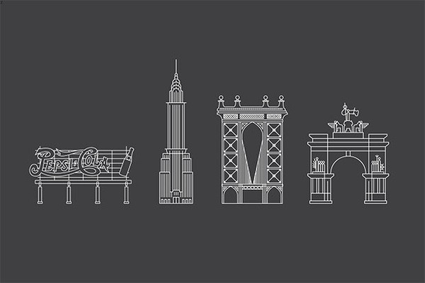 Icons for the Pepsi Cola sign, the Chrysler Building, Manhattan Bridge and the Soldiers and Sailors Memorial Arch. #york #pentagram #city #new