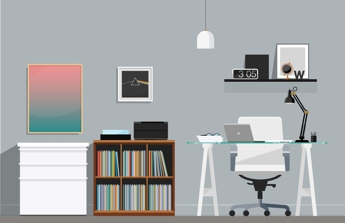 Home Office Illustration – Nathan Manire #retro #icons #theme #illustration #desk #vintage #midcentruy #decoration #modern #design #color #geometric #series #room #eames #flat #soundfreaq #office #interior #chair #decor #home #simple #library #workstation