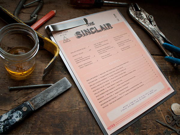 The Sinclair on Behance #menu #collateral #restaurant