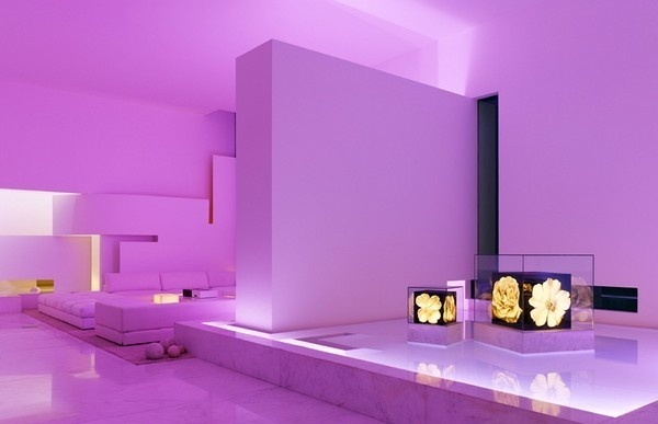 Residence with living room in violet lighting #interior #architecture #residence #futuristic
