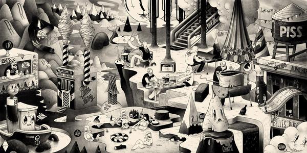 mcbess 2D #illustration #white #black #and
