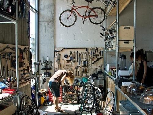 Coffee Coalition: Cycling Cafés | WeAreYourStudio's Blog SEB: shelving #cafe #cycling #workshop #bike