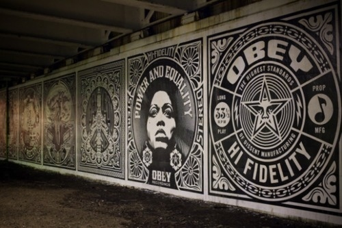 Avoiding elevators and taking the steps. #ooh #white #ornate #black #posters #obey