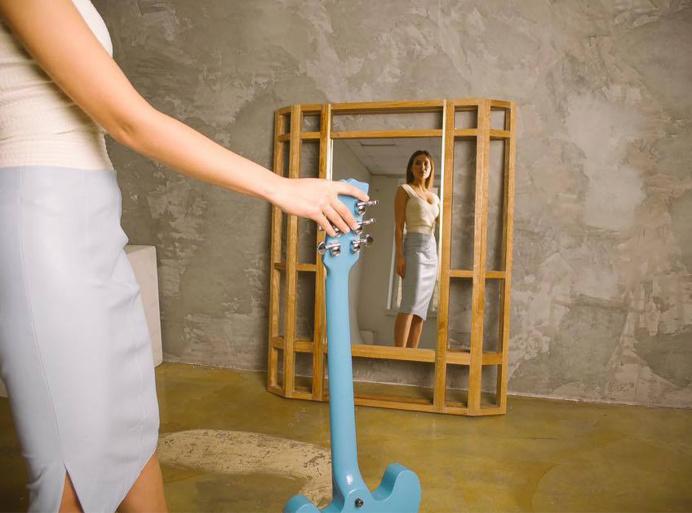Mirror WALLOUT ZEPPELIN Fly Massive Millworks #mirror #interior #wall #oak #wood #brass #constructivism #modernism