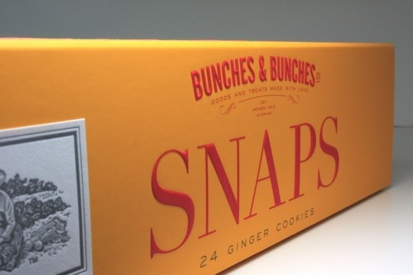 Bunches and Bunches Snaps Cookie Packaging #branding #letterpress #embossing #cookies #slide box #soft #touch