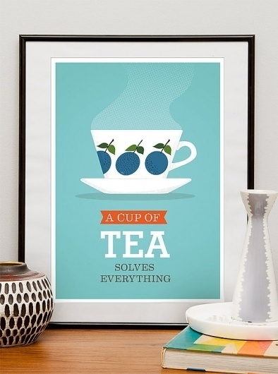 Tea Print Kitchen art mid century modern poster tea cup by handz #modern #quote #print #retro #illustration #scandinavian #mid #tea #poster #century