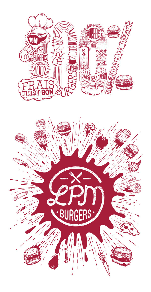 LPM burgers on Behance #meat #hand #drawn #poster