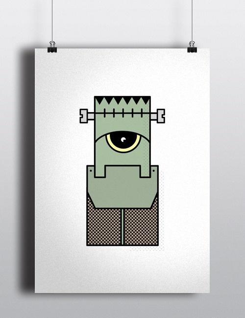 Frankenstein #characters #frankenstein #stroke #illustration #creatures #minimal #aliens #character #outline #robots