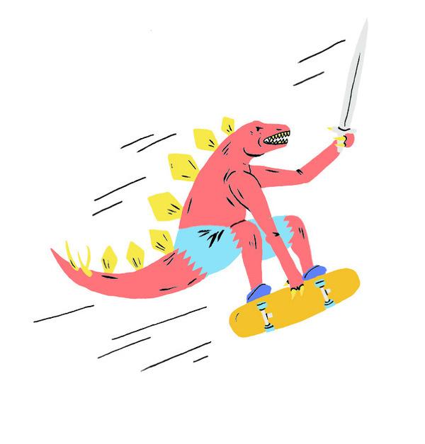 Prehistoric Gnar Series—Paul Windle #board #sword #illustration #skate #drawn #hand #lizard