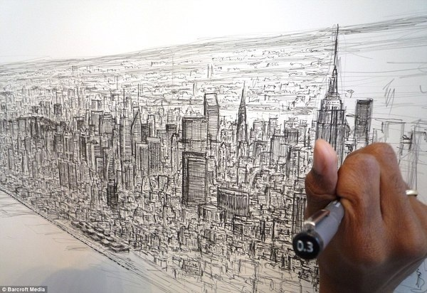 Stephen uses up to 12 pens and takes up to a week for each skyline #memory #wiltshire #autistic #york #stephen #skyline #new