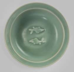 Fine celadon dish with Twin Fish motif, green, blue, glazed #Sets #Teasets #Porcelainsets #Antiqueplates #Plates #Wallplates #Figures #Porcelainfigurines #porcelain