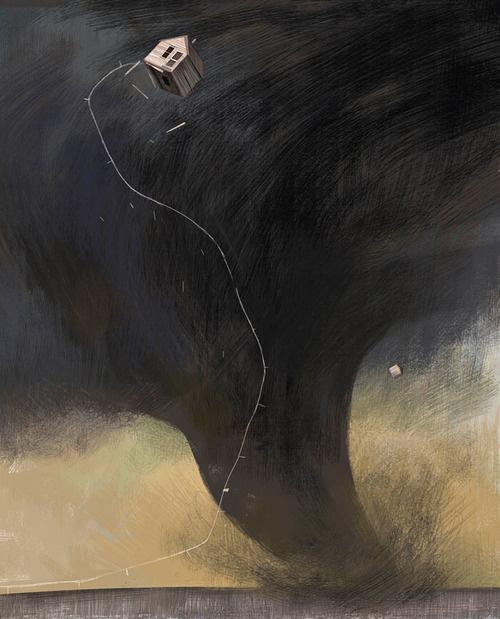 The Art Of Animation, Júlia Sardà#tornado #house #cloud #of #illustration #storm #oz #funnel #wizard