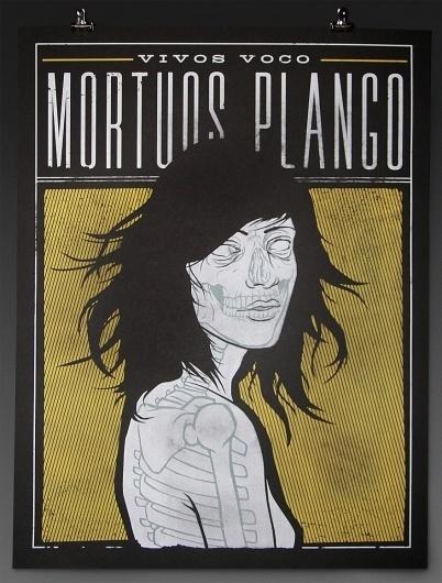Vivos Voco Mortuos Plango « RONLEWHORN #skeleton #woman #girl #nude #print #design #screen #illustration #poster #death