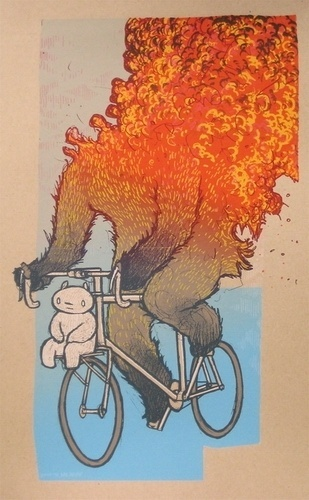 Not Coming Back by Jay Ryan #ryan #bicycle #illustration #jay #fire #poster