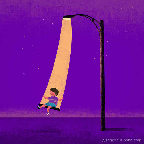 Swinging in the Light #illustration #tangyauhoong