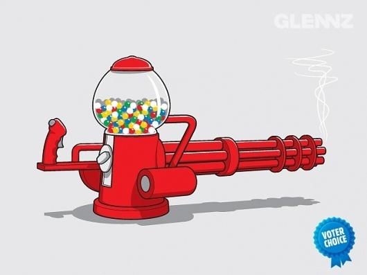 Gumball Machine Gun - A Glennz Tees Original T-Shirt #machine #gun #glennz #illustrator #shirt #gumball