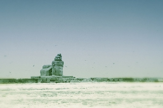 Frozen Solid | Flickr - Photo Sharing! #house #frozen #focus #selective #retro #lighthouse #cleveland #light