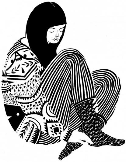 Think Faest! » Karolin Schnoor #white #and #black #schnoor #illustration #karolin