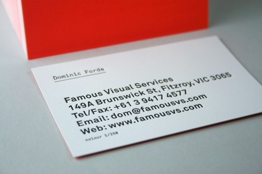 Famous Cards | Famous Visual Services #colourful #business #card #design #type