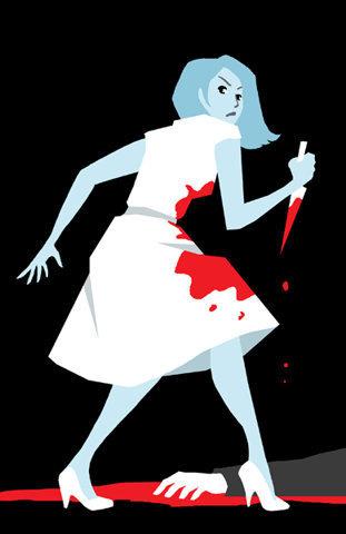 murder.jpg (JPEG Imagen, 389x600 pixels) #white #red #woman #black #murder #illustration #blue #knife
