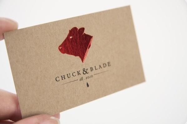 Chuck & Blade - Jackson Cook #stamp #business #card #restaurant #meat #identity #logo #foil