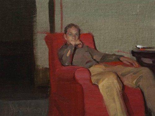His Favorite Chair - Johanna Harmon American,b.1968- Oil on linen , 6 x 8 in.