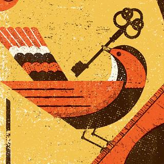 BUBBLES ART PRINT Telegramme #key #bird