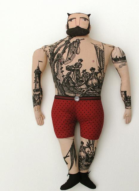 photo #sailor #beard #horned #retro #dots #devil #tattoo #vintage #horns #man #character #toy